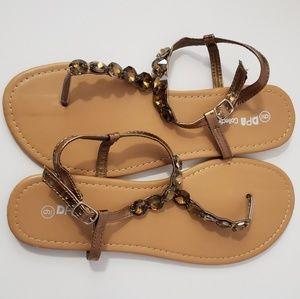 Size 9 bronze jeweled sandals